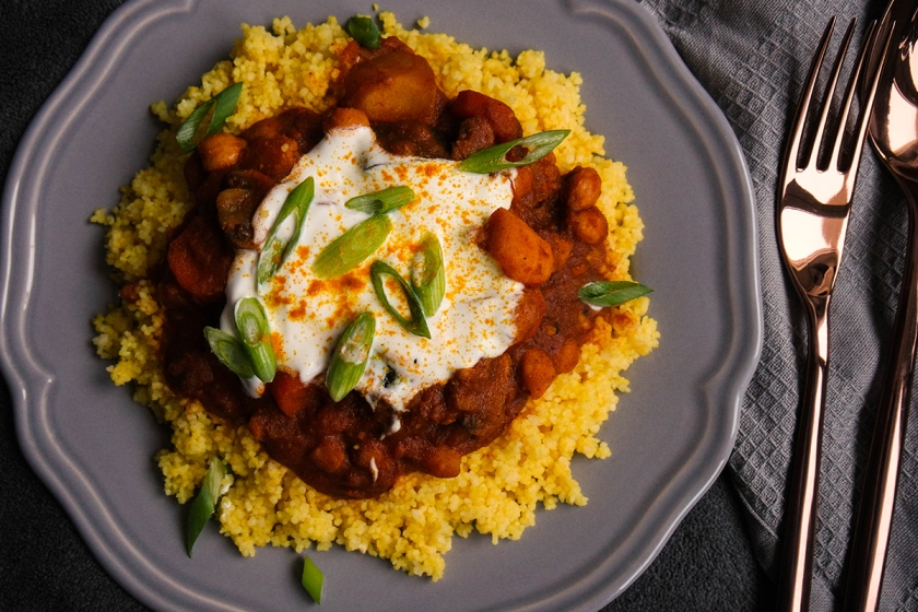 Indisches Curry Auf Couscous